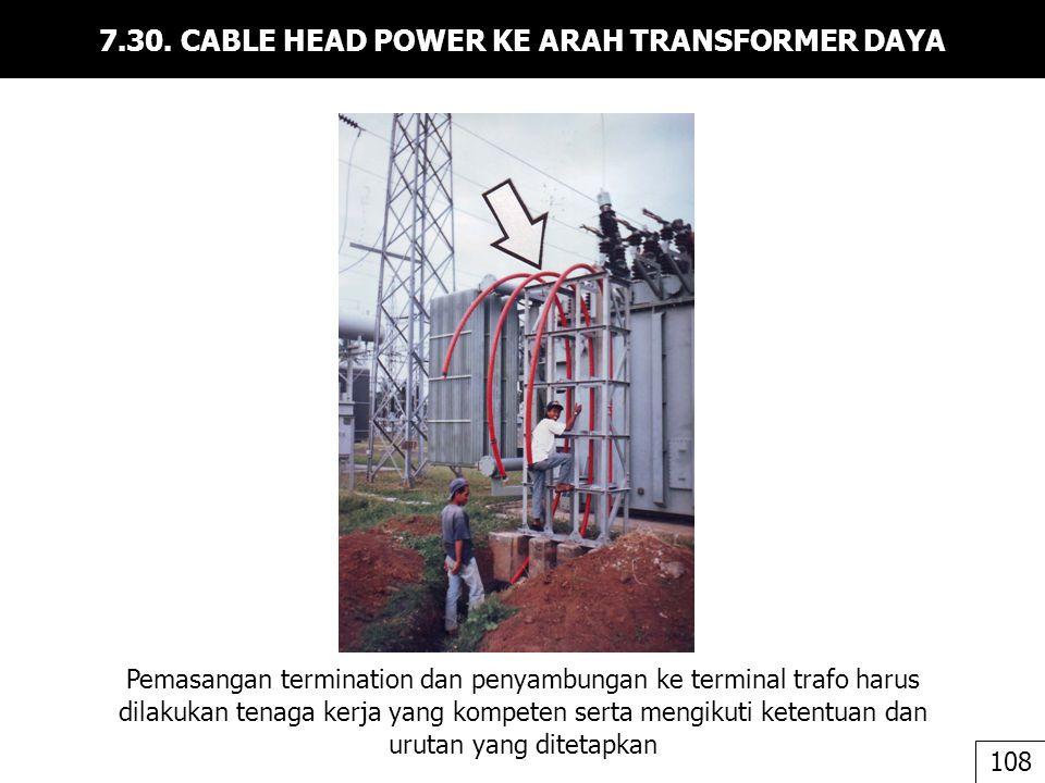7.30. CABLE HEAD POWER KE ARAH TRANSFORMER DAYA Pemasangan termination dan penyambungan ke terminal trafo harus dilakukan tenaga kerja yang kompeten s