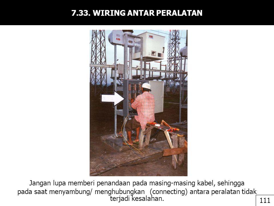 7.33. WIRING ANTAR PERALATAN Jangan lupa memberi penandaan pada masing-masing kabel, sehingga pada saat menyambung/ menghubungkan (connecting) antara