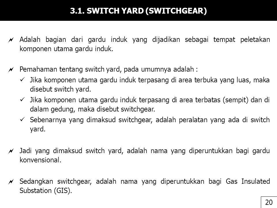 3.1. SWITCH YARD (SWITCHGEAR)  Adalah bagian dari gardu induk yang dijadikan sebagai tempat peletakan komponen utama gardu induk.  Pemahaman tentang