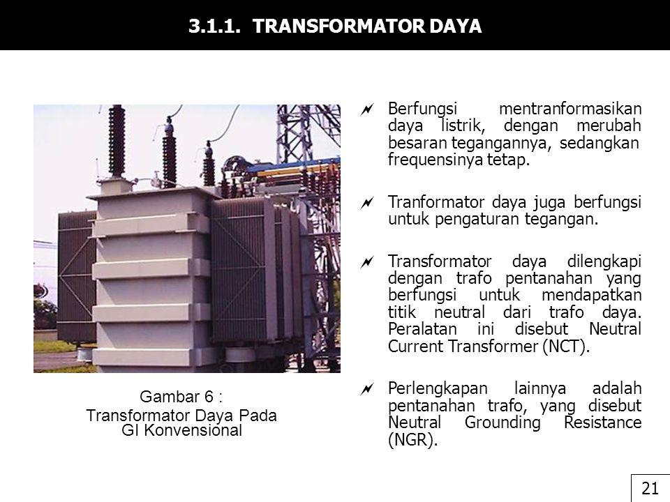 3.1.1. TRANSFORMATOR DAYA  Berfungsi mentranformasikan daya listrik, dengan merubah besaran tegangannya, sedangkan frequensinya tetap.  Tranformator