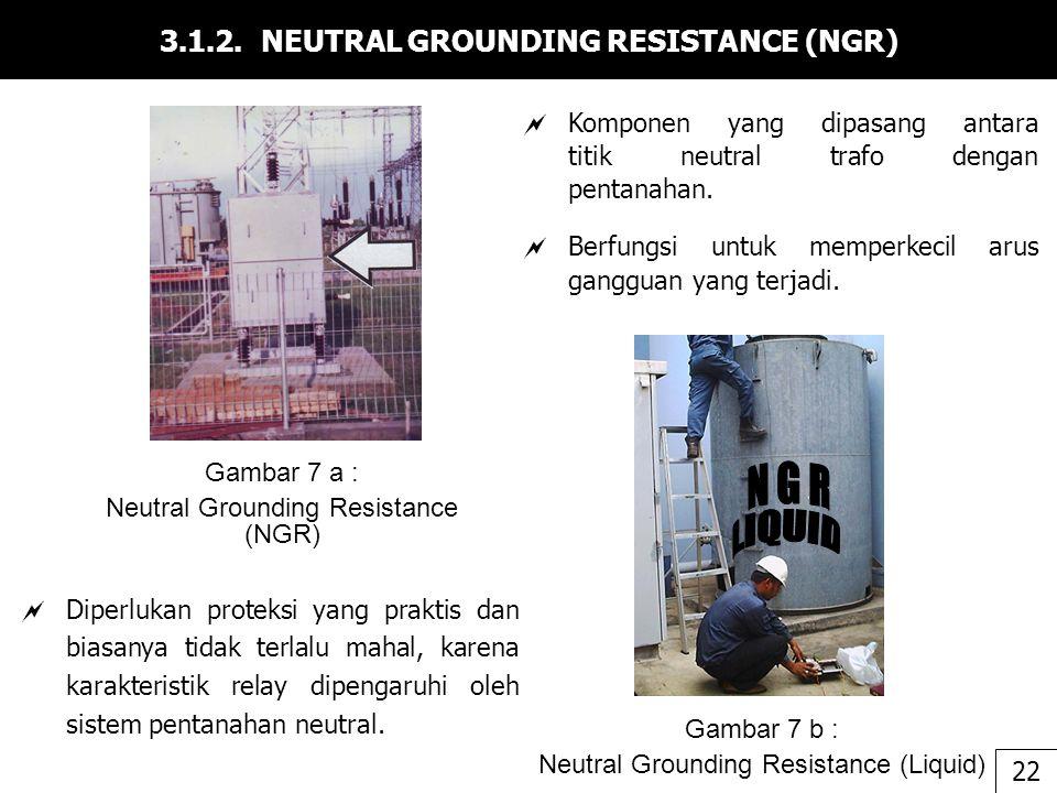 3.1.2. NEUTRAL GROUNDING RESISTANCE (NGR)  Diperlukan proteksi yang praktis dan biasanya tidak terlalu mahal, karena karakteristik relay dipengaruhi