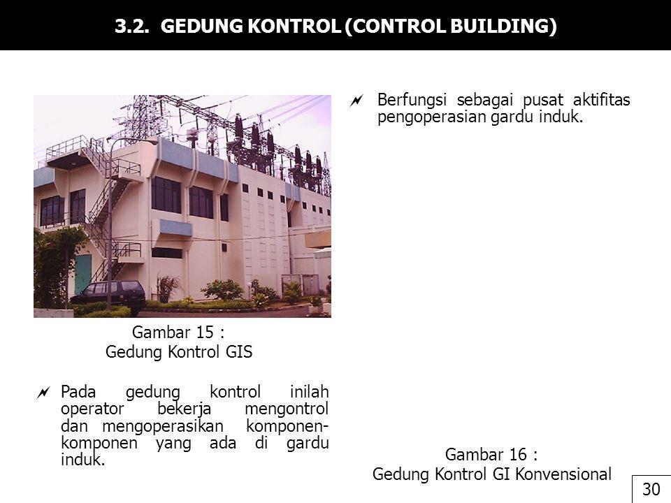 3.2. GEDUNG KONTROL (CONTROL BUILDING)  Berfungsi sebagai pusat aktifitas pengoperasian gardu induk. Gambar 15 : Gedung Kontrol GIS Gambar 16 : Gedun