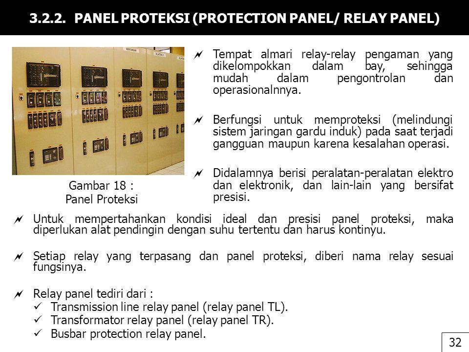 3.2.2. PANEL PROTEKSI (PROTECTION PANEL/ RELAY PANEL)  Tempat almari relay-relay pengaman yang dikelompokkan dalam bay, sehingga mudah dalam pengontr