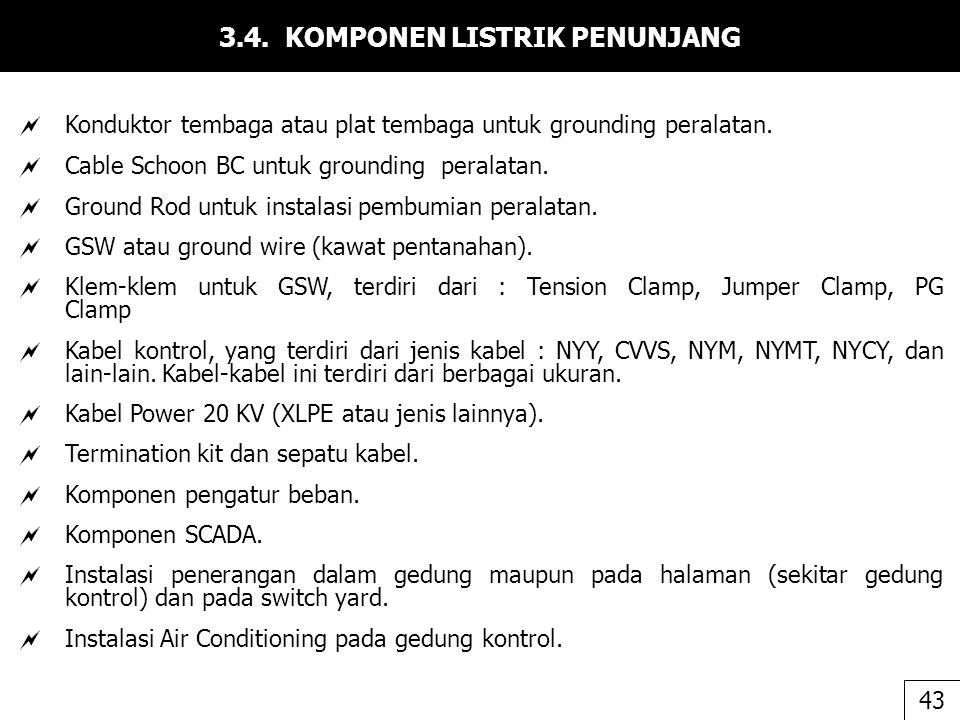 3.4. KOMPONEN LISTRIK PENUNJANG  Konduktor tembaga atau plat tembaga untuk grounding peralatan.  Cable Schoon BC untuk grounding peralatan.  Ground
