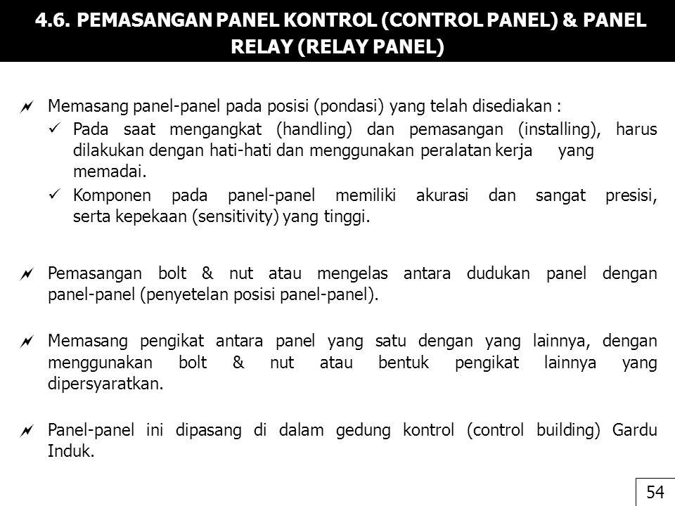 4.6. PEMASANGAN PANEL KONTROL (CONTROL PANEL) & PANEL RELAY (RELAY PANEL)  Memasang panel-panel pada posisi (pondasi) yang telah disediakan : Pada sa