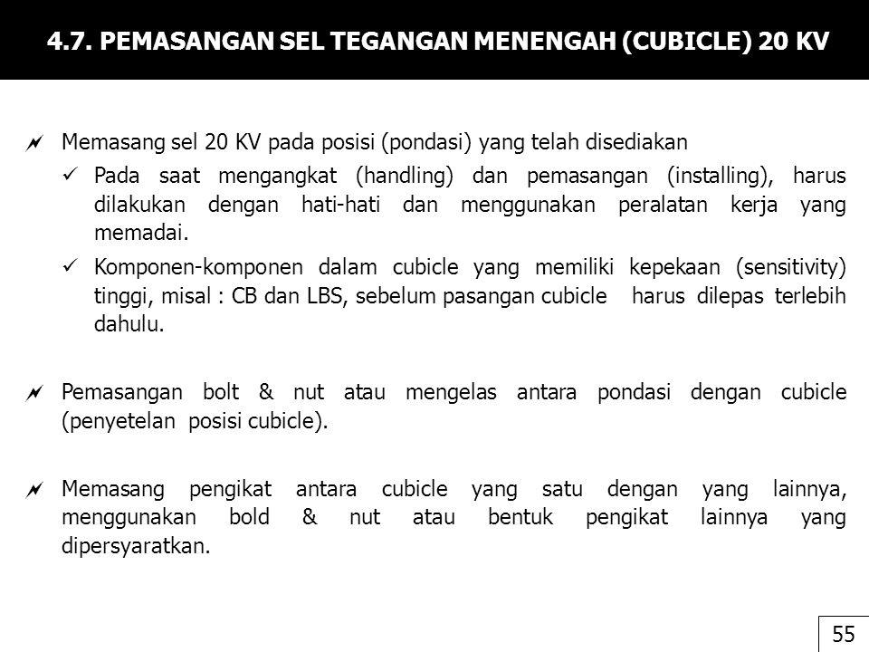 4.7. PEMASANGAN SEL TEGANGAN MENENGAH (CUBICLE) 20 KV  Memasang sel 20 KV pada posisi (pondasi) yang telah disediakan Pada saat mengangkat (handling)