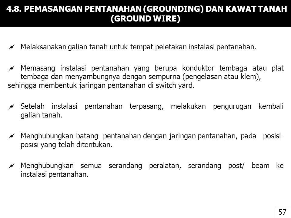 4.8. PEMASANGAN PENTANAHAN (GROUNDING) DAN KAWAT TANAH (GROUND WIRE)  Melaksanakan galian tanah untuk tempat peletakan instalasi pentanahan.  Memasa
