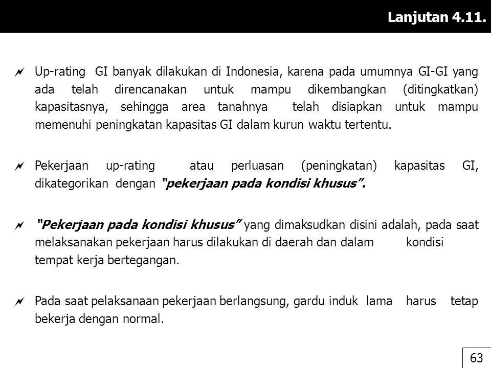 Lanjutan 4.11.  Up-rating GI banyak dilakukan di Indonesia, karena pada umumnya GI-GI yang ada telah direncanakan untuk mampu dikembangkan (ditingkat