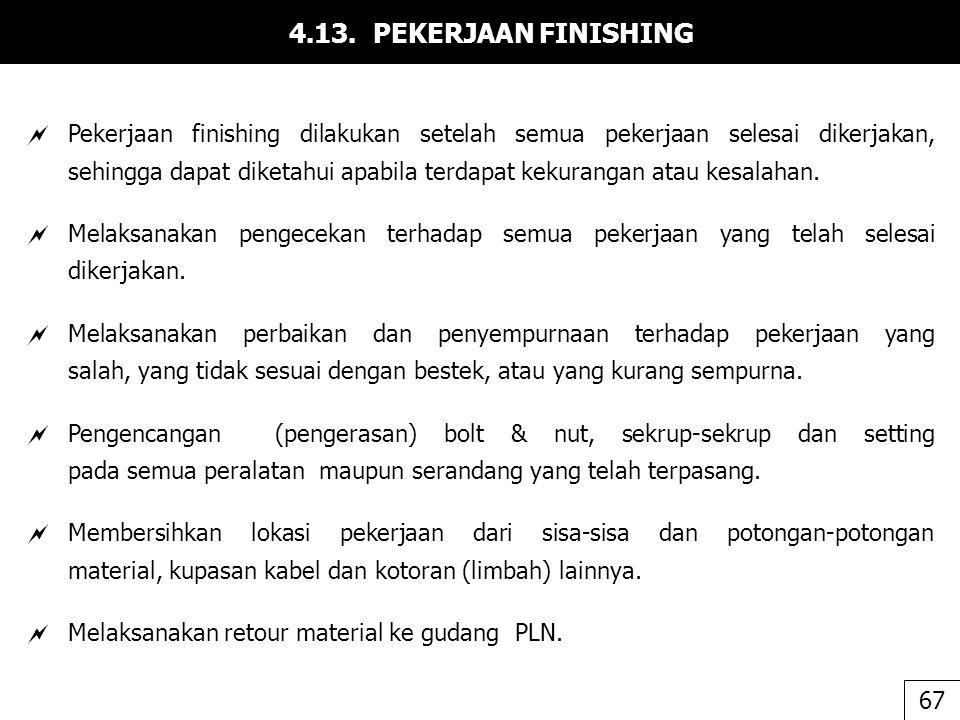 4.13. PEKERJAAN FINISHING  Pekerjaan finishing dilakukan setelah semua pekerjaan selesai dikerjakan, sehingga dapat diketahui apabila terdapat kekura