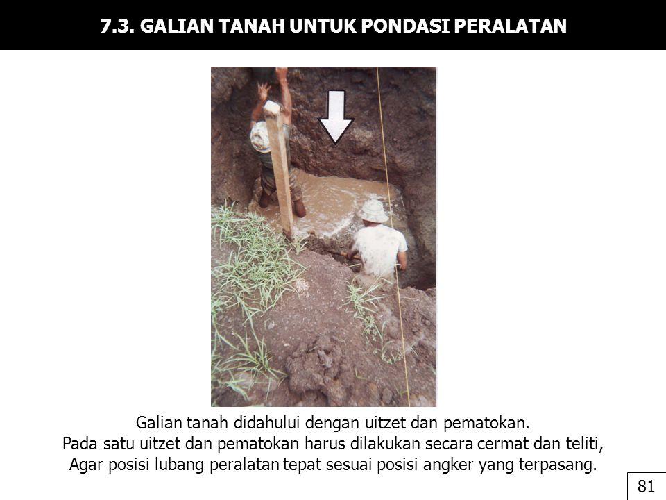 7.3. GALIAN TANAH UNTUK PONDASI PERALATAN Galian tanah didahului dengan uitzet dan pematokan. Pada satu uitzet dan pematokan harus dilakukan secara ce