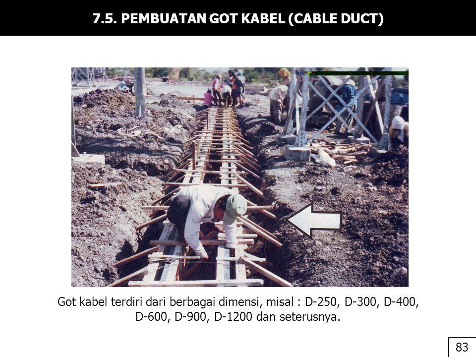 7.5. PEMBUATAN GOT KABEL (CABLE DUCT) Got kabel terdiri dari berbagai dimensi, misal : D-250, D-300, D-400, D-600, D-900, D-1200 dan seterusnya. 83