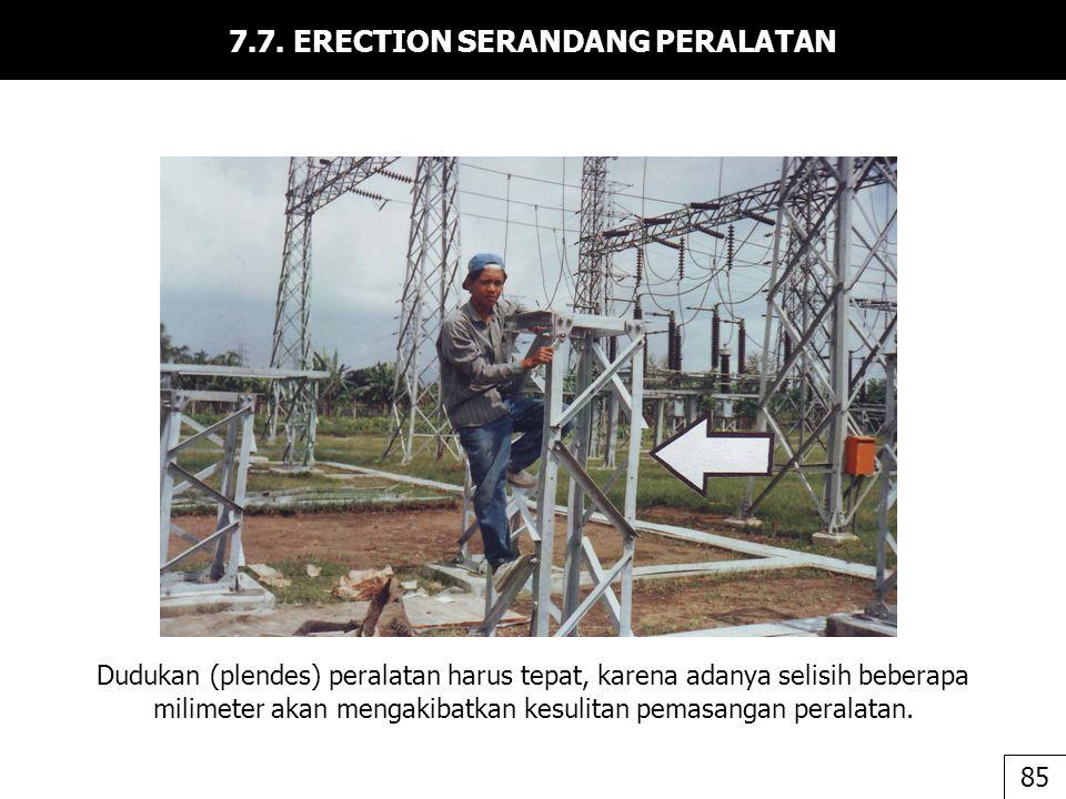 7.7. ERECTION SERANDANG PERALATAN Dudukan (plendes) peralatan harus tepat, karena adanya selisih beberapa milimeter akan mengakibatkan kesulitan pemas