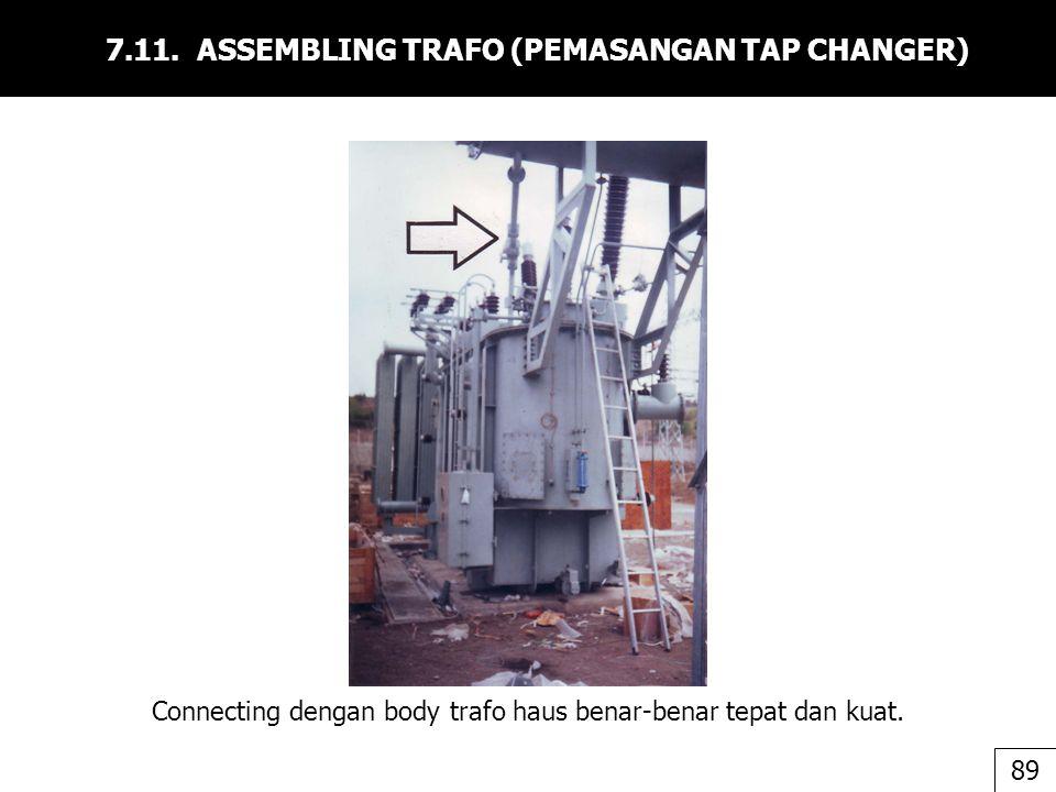 7.11. ASSEMBLING TRAFO (PEMASANGAN TAP CHANGER) Connecting dengan body trafo haus benar-benar tepat dan kuat. 89