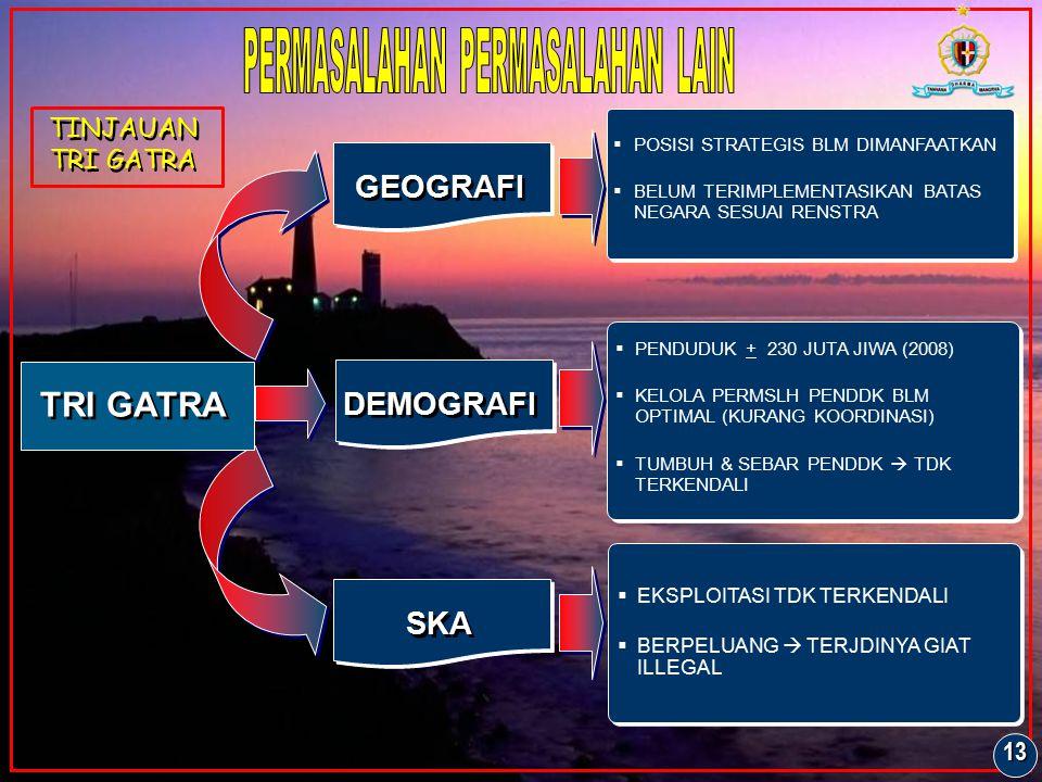 GEOGRAFI DEMOGRAFI SKA  POSISI STRATEGIS BLM DIMANFAATKAN  BELUM TERIMPLEMENTASIKAN BATAS NEGARA SESUAI RENSTRA  PENDUDUK + 230 JUTA JIWA (2008) 
