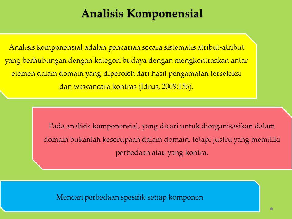 Analisis Komponensial Pada analisis komponensial, yang dicari untuk diorganisasikan dalam domain bukanlah keserupaan dalam domain, tetapi justru yang