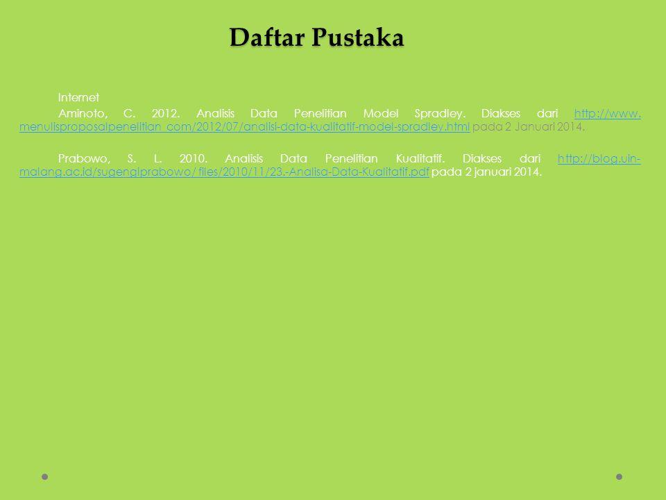 Daftar Pustaka Internet Aminoto, C. 2012. Analisis Data Penelitian Model Spradley. Diakses dari http://www. menulisproposalpenelitian com/2012/07/anal
