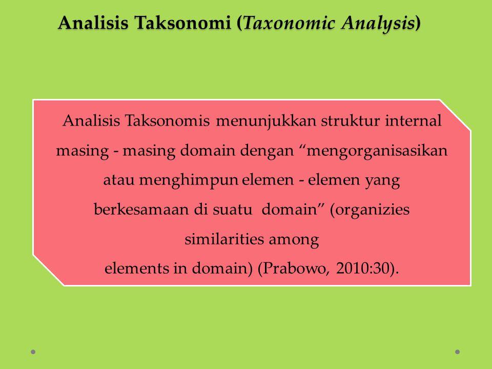 """Analisis Taksonomis menunjukkan struktur internal masing - masing domain dengan """"mengorganisasikan atau menghimpun elemen - elemen yang berkesamaan di"""