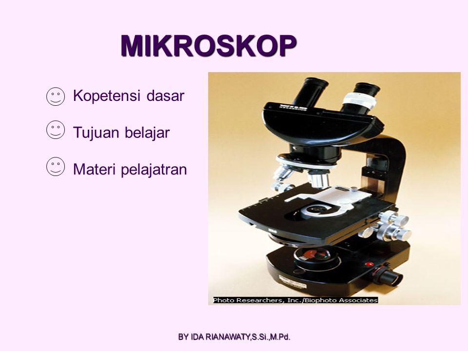 Kopetensi dasar Tujuan belajar Materi pelajatran MIKROSKOP BY IDA RIANAWATY,S.Si.,M.Pd.