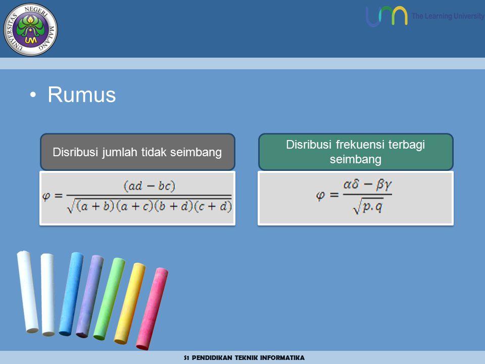 S1 PENDIDIKAN TEKNIK INFORMATIKA Rumus Disribusi jumlah tidak seimbang Disribusi frekuensi terbagi seimbang