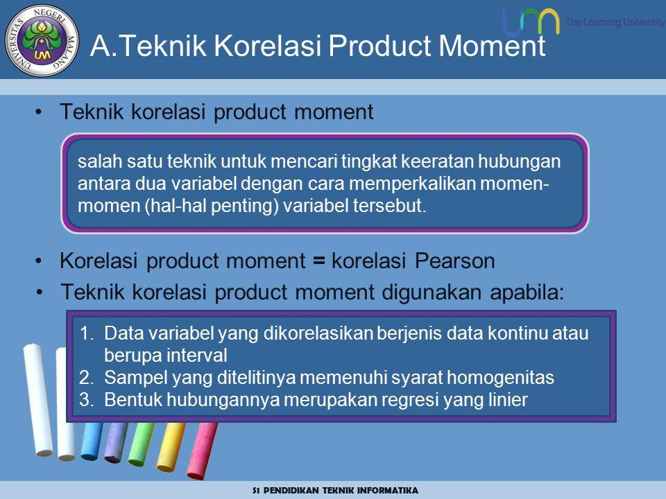 S1 PENDIDIKAN TEKNIK INFORMATIKA A.Teknik Korelasi Product Moment Teknik korelasi product moment Korelasi product moment = korelasi Pearson salah satu teknik untuk mencari tingkat keeratan hubungan antara dua variabel dengan cara memperkalikan momen- momen (hal-hal penting) variabel tersebut.