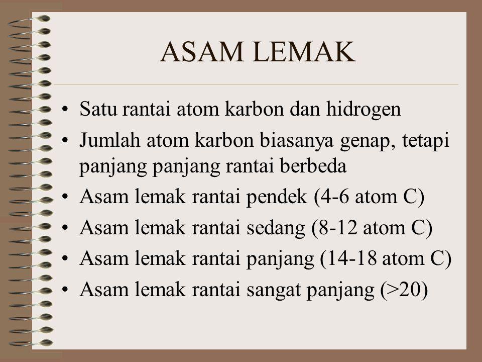 ASAM LEMAK Satu rantai atom karbon dan hidrogen Jumlah atom karbon biasanya genap, tetapi panjang panjang rantai berbeda Asam lemak rantai pendek (4-6 atom C) Asam lemak rantai sedang (8-12 atom C) Asam lemak rantai panjang (14-18 atom C) Asam lemak rantai sangat panjang (>20)