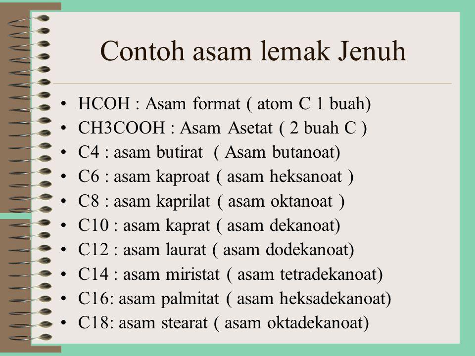 Contoh asam lemak Jenuh HCOH : Asam format ( atom C 1 buah) CH3COOH : Asam Asetat ( 2 buah C ) C4 : asam butirat ( Asam butanoat) C6 : asam kaproat ( asam heksanoat ) C8 : asam kaprilat ( asam oktanoat ) C10 : asam kaprat ( asam dekanoat) C12 : asam laurat ( asam dodekanoat) C14 : asam miristat ( asam tetradekanoat) C16: asam palmitat ( asam heksadekanoat) C18: asam stearat ( asam oktadekanoat)