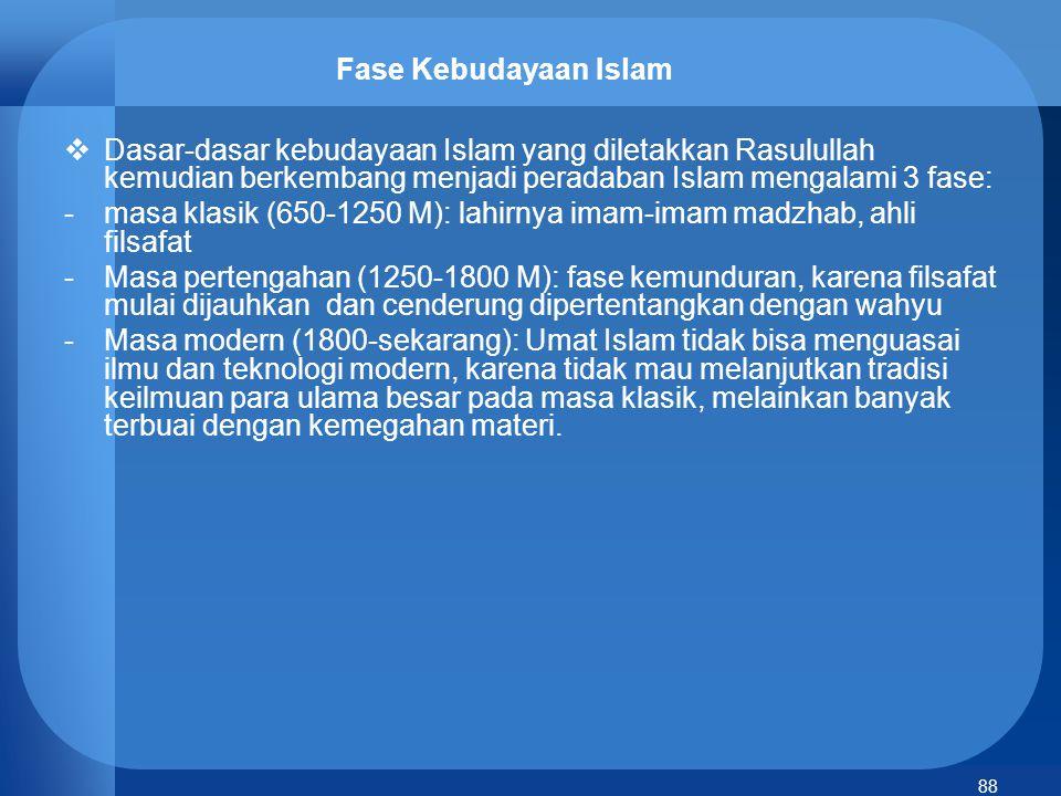 89 Masjid sebagai pusat peradaban Islam  Masjid di zaman Nabi Muhammad berfungsi sebagai pusat peradaban: tempat mensucikan jiwa kaum muslimin, mengajarkan al-Qur`an dan al-Hikmah, bermusyawarah, membina sikap toleransi, hingga upaya mensejahterakan dan mempersatukan umat.