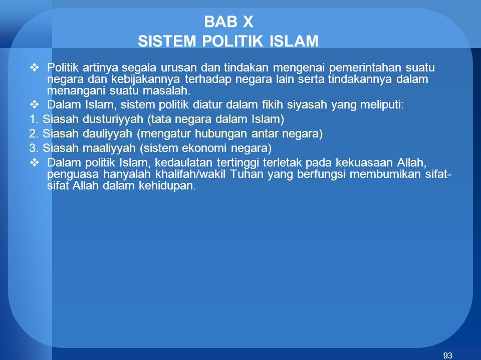 94 Prinsip-prinsip dasar siasah dalam Islam 1.Musyawarah 2.Pembahasan bersama 3.Tujuan bersama 4.Keputusan bersama 5.Keadilan 6.Persamaan 7.Kebebasan 8.Perlindungan jiwa, raga dan harta