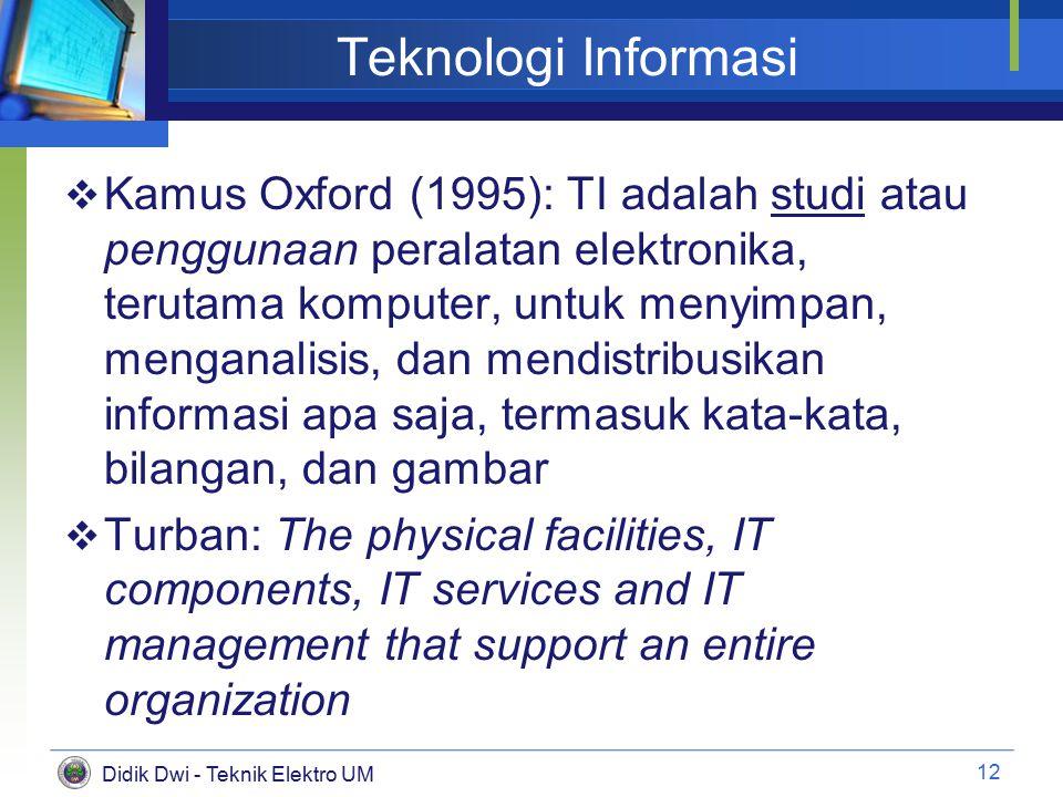 Didik Dwi - Teknik Elektro UM Teknologi Informasi  Kamus Oxford (1995): TI adalah studi atau penggunaan peralatan elektronika, terutama komputer, untuk menyimpan, menganalisis, dan mendistribusikan informasi apa saja, termasuk kata-kata, bilangan, dan gambar  Turban: The physical facilities, IT components, IT services and IT management that support an entire organization 12