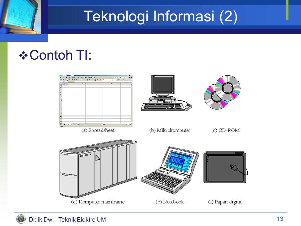Didik Dwi - Teknik Elektro UM Teknologi Informasi (2)  Contoh TI: 13