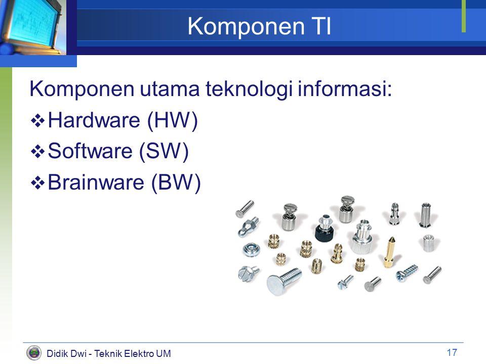 Didik Dwi - Teknik Elektro UM Komponen TI Komponen utama teknologi informasi:  Hardware (HW)  Software (SW)  Brainware (BW) 17