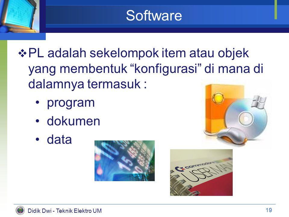 Didik Dwi - Teknik Elektro UM Software  PL adalah sekelompok item atau objek yang membentuk konfigurasi di mana di dalamnya termasuk : program dokumen data 19