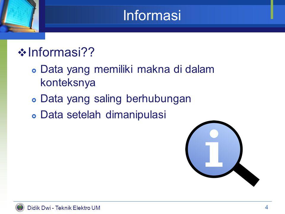 Didik Dwi - Teknik Elektro UM Informasi  Informasi?.