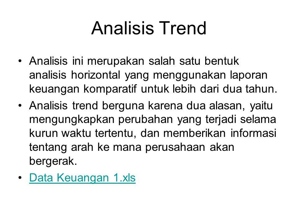 Analisis Trend Analisis ini merupakan salah satu bentuk analisis horizontal yang menggunakan laporan keuangan komparatif untuk lebih dari dua tahun. A
