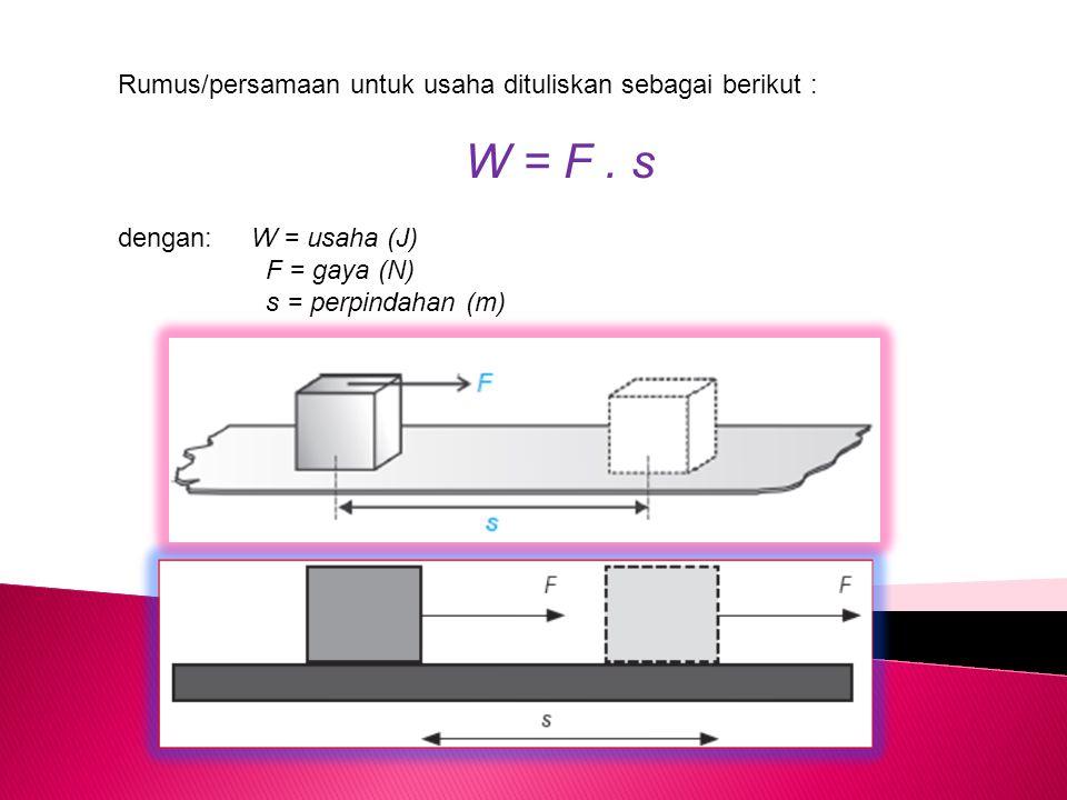 Rumus/persamaan untuk usaha dituliskan sebagai berikut : W = F. s dengan: W = usaha (J) F = gaya (N) s = perpindahan (m)