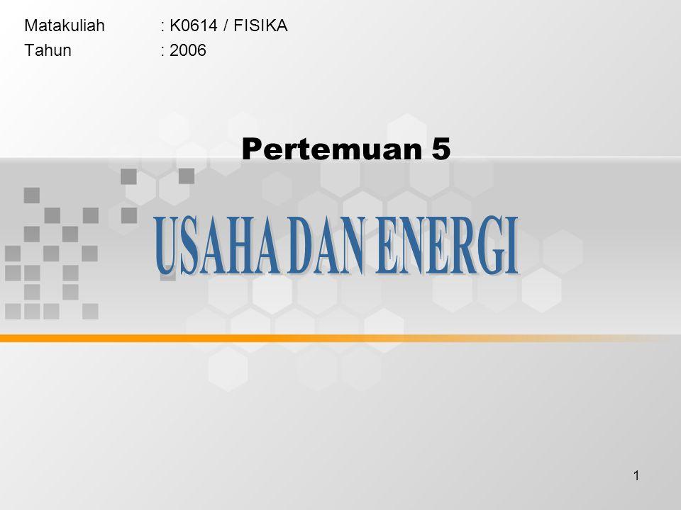 2 Pada pertemuan ini akan dibahas mengenai usaha dan energi, yang meliputi : 1.