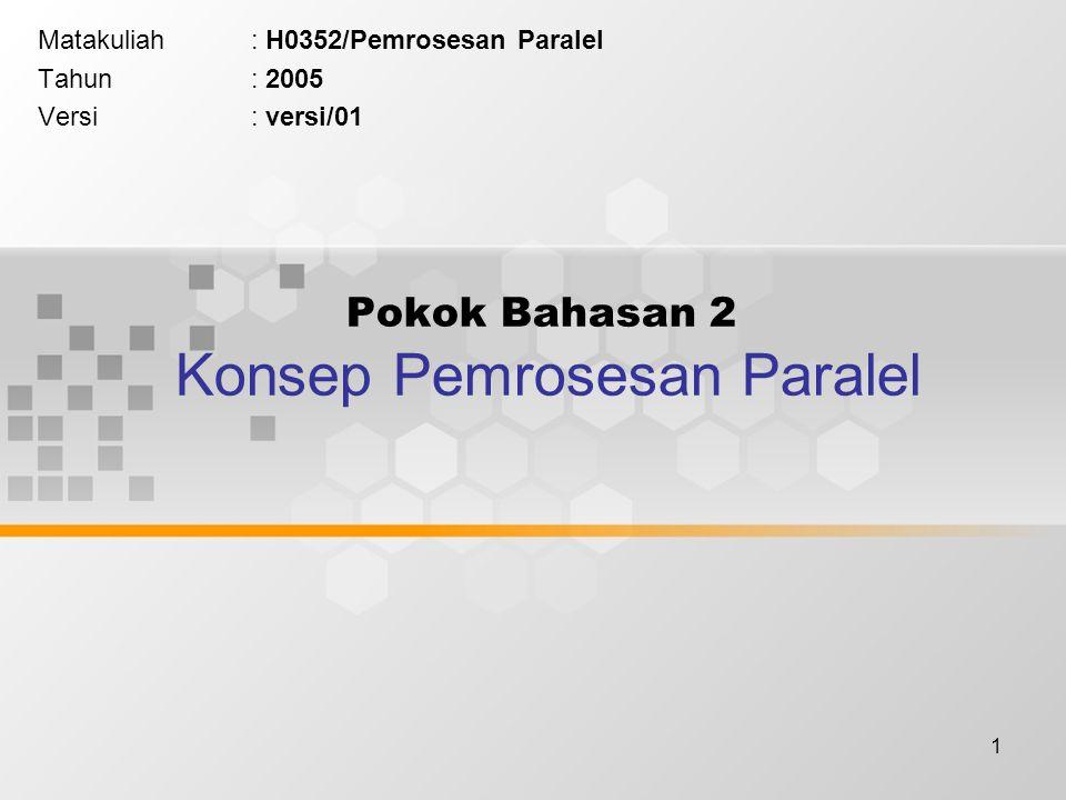 1 Pokok Bahasan 2 Konsep Pemrosesan Paralel Matakuliah: H0352/Pemrosesan Paralel Tahun: 2005 Versi: versi/01