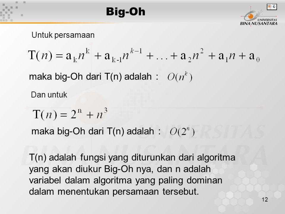 12 Big-Oh maka big-Oh dari T(n) adalah : T(n) adalah fungsi yang diturunkan dari algoritma yang akan diukur Big-Oh nya, dan n adalah variabel dalam al