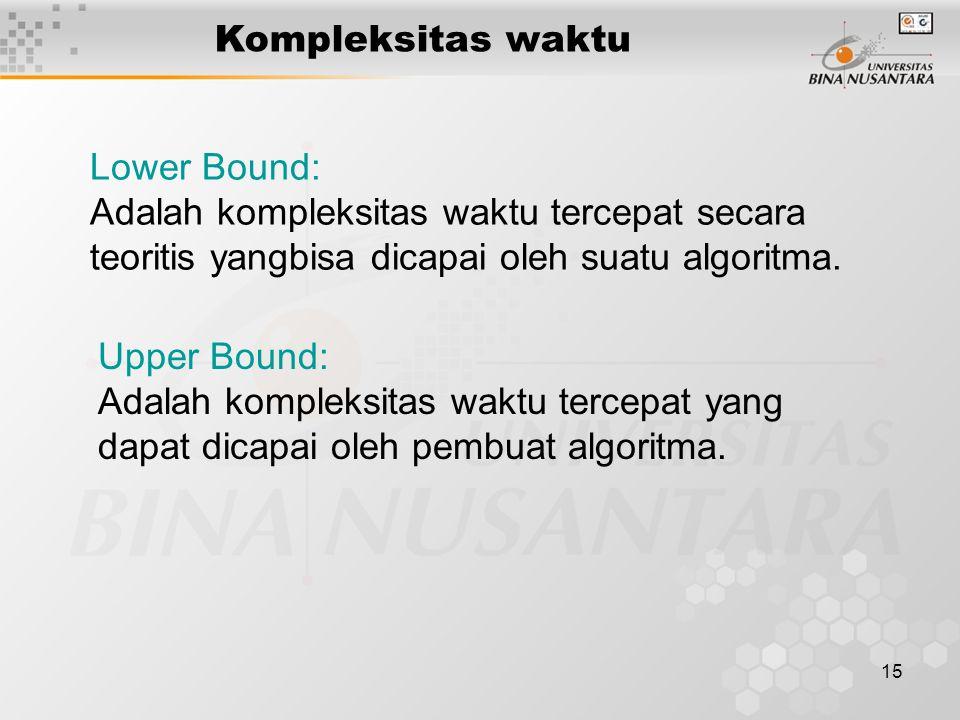 15 Kompleksitas waktu Lower Bound: Adalah kompleksitas waktu tercepat secara teoritis yangbisa dicapai oleh suatu algoritma. Upper Bound: Adalah kompl