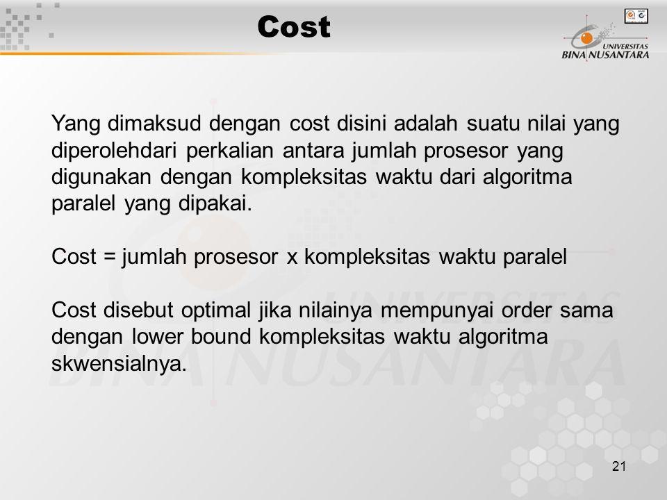 21 Yang dimaksud dengan cost disini adalah suatu nilai yang diperolehdari perkalian antara jumlah prosesor yang digunakan dengan kompleksitas waktu dari algoritma paralel yang dipakai.