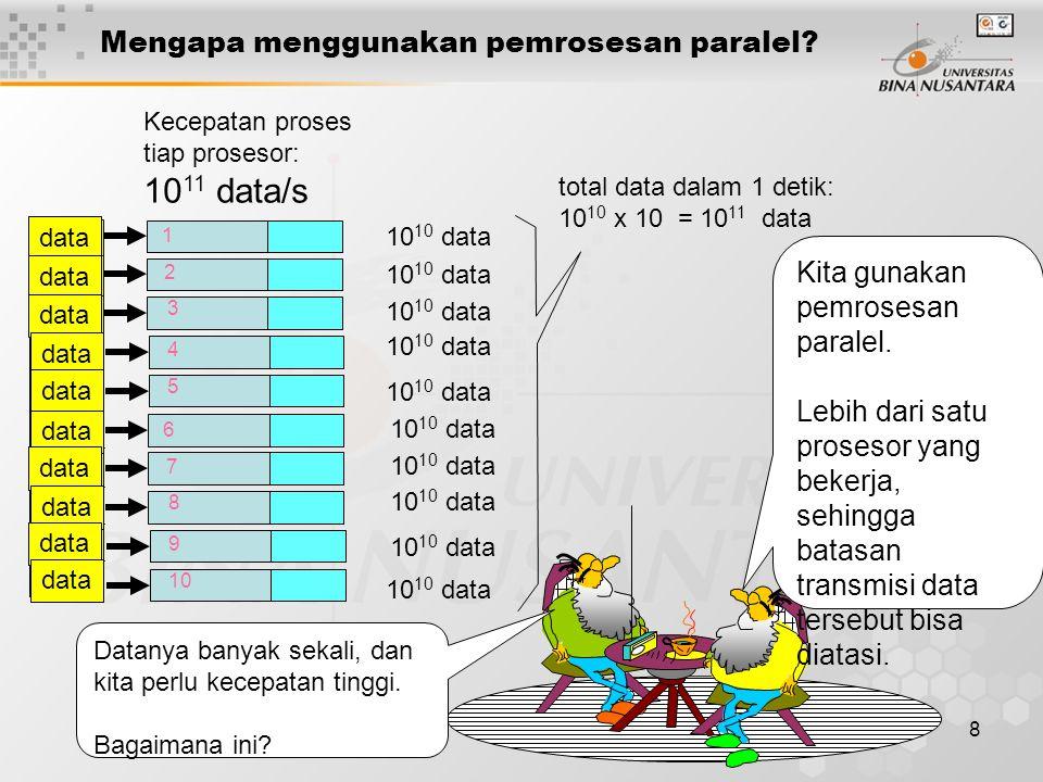 8 Mengapa menggunakan pemrosesan paralel? Kecepatan proses tiap prosesor: 10 11 data/s 10 10 data 1 2 3 4 5 total data dalam 1 detik: 10 10 x 10 = 10