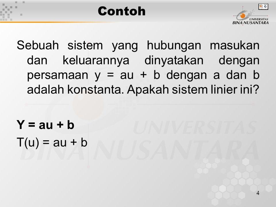 5 tinjau dua input u 1 dan u 2, maka T(u 1 ) = au 1 + b……………………………………..(1) T(u 2 ) = au 2 + b……………………………………..(2) jika inputnya u 1 + u 2 maka T(u 1 + u 2 ) = a(u 1 + u 2 ) + b………………………….(3) dari persamaan (1) dan (2) T(u 1 ) + T(u 2 ) = au 1 + b + au 2 + b T(u 1 ) + T(u 2 ) = a (u 1 + u 2 ) + 2b……………………(4)