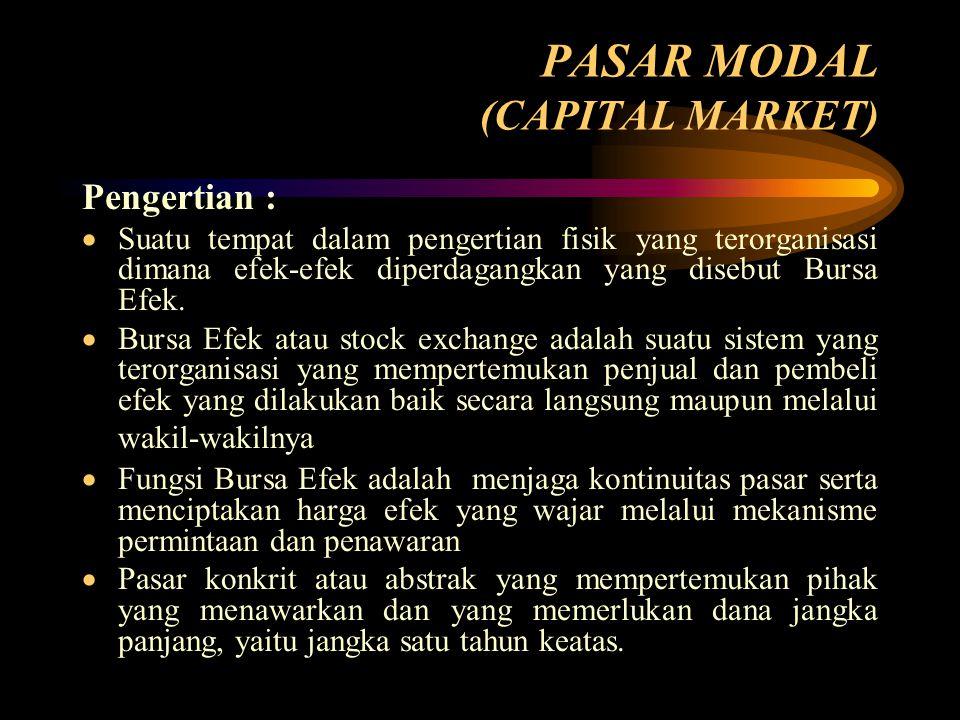 PASAR MODAL (CAPITAL MARKET) Pengertian :  Suatu tempat dalam pengertian fisik yang terorganisasi dimana efek-efek diperdagangkan yang disebut Bursa Efek.