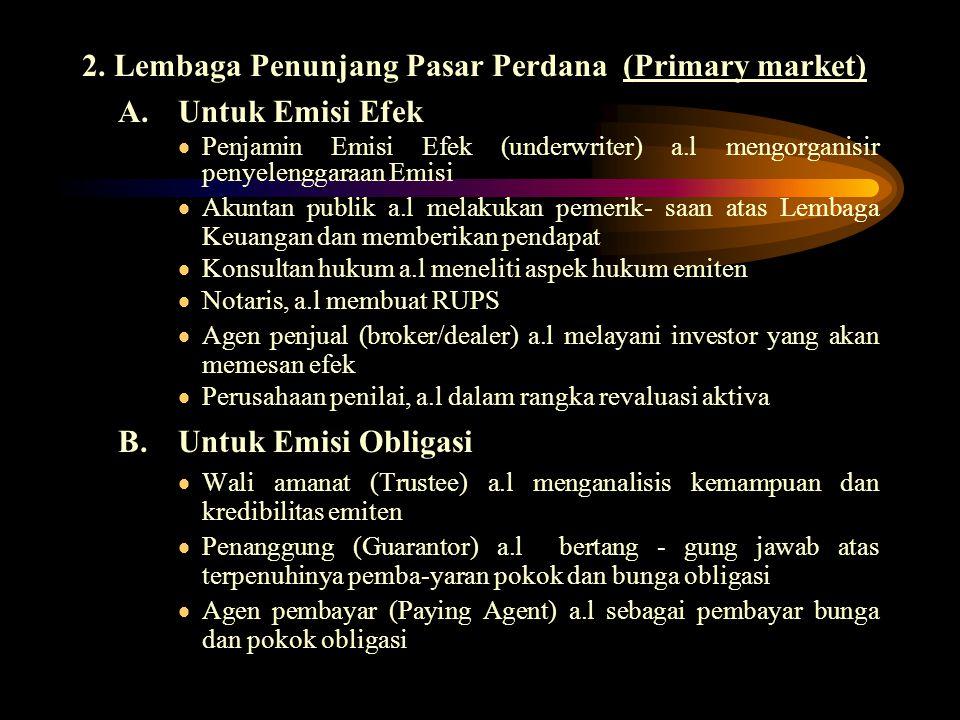2. Lembaga Penunjang Pasar Perdana (Primary market) A.Untuk Emisi Efek  Penjamin Emisi Efek (underwriter) a.l mengorganisir penyelenggaraan Emisi  A
