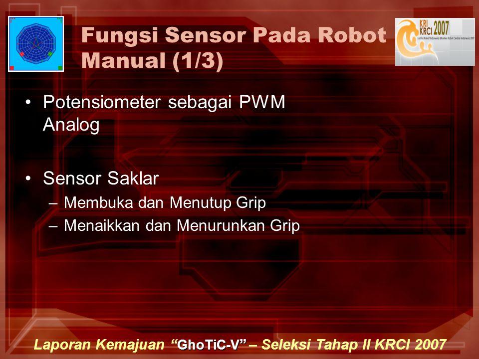 GhoTiC-V Laporan Kemajuan GhoTiC-V – Seleksi Tahap II KRCI 2007 Fungsi Sensor Pada Robot Manual (1/3) Potensiometer sebagai PWM Analog Sensor Saklar –Membuka dan Menutup Grip –Menaikkan dan Menurunkan Grip