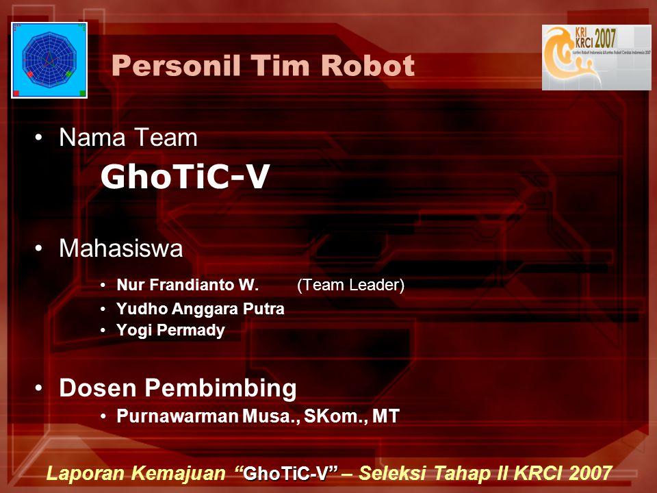 GhoTiC-V Laporan Kemajuan GhoTiC-V – Seleksi Tahap II KRCI 2007 Personil Tim Robot Nama Team GhoTiC-V Mahasiswa Nur Frandianto W.