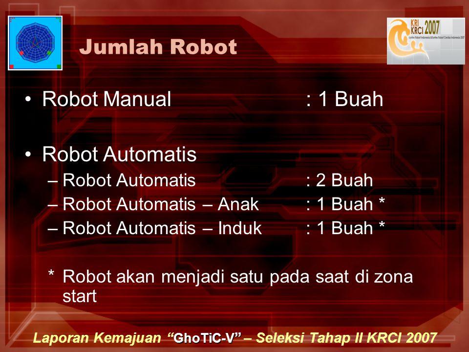 GhoTiC-V Laporan Kemajuan GhoTiC-V – Seleksi Tahap II KRCI 2007 Jumlah Robot Robot Manual : 1 Buah Robot Automatis –Robot Automatis: 2 Buah –Robot Automatis – Anak: 1 Buah * –Robot Automatis – Induk: 1 Buah * *Robot akan menjadi satu pada saat di zona start