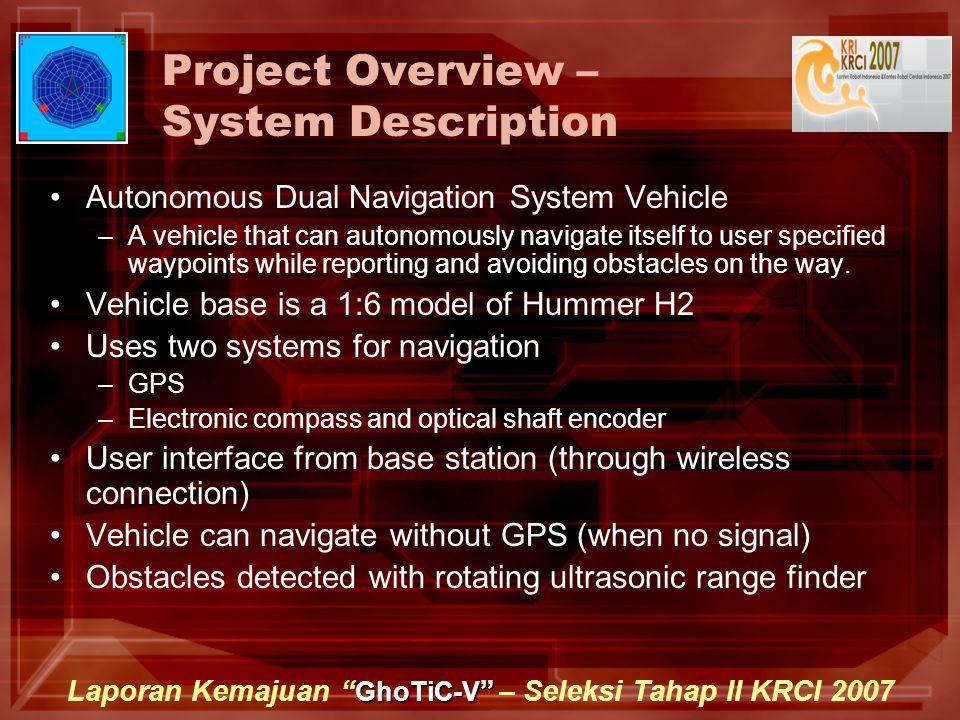 "GhoTiC-V "" Laporan Kemajuan "" GhoTiC-V "" – Seleksi Tahap II KRCI 2007 Project Overview – System Description Autonomous Dual Navigation System Vehicle"
