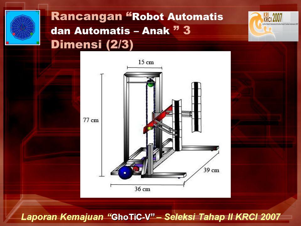 GhoTiC-V Laporan Kemajuan GhoTiC-V – Seleksi Tahap II KRCI 2007 Rancangan Robot Automatis dan Automatis – Anak 3 Dimensi (2/3)