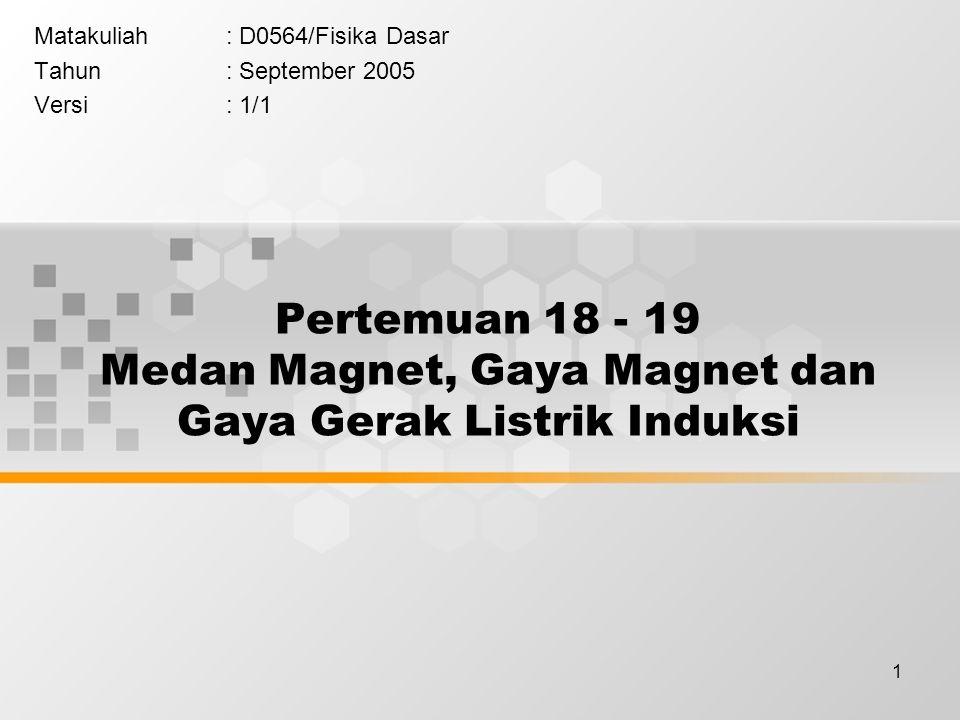 1 Pertemuan 18 - 19 Medan Magnet, Gaya Magnet dan Gaya Gerak Listrik Induksi Matakuliah: D0564/Fisika Dasar Tahun: September 2005 Versi: 1/1